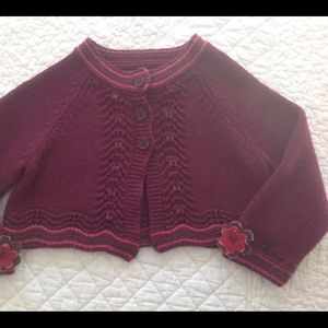 Baby Gap Girls Sweater with Velvet Ribbons,Flowers